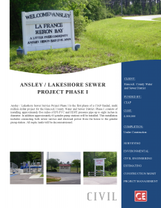 Ansley Lakeshore Sewer Service Project