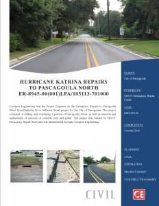 Hurricane Katrina Repairs to Pascagloua North 205-125.007