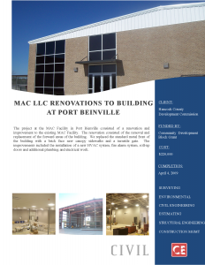 MAC Renovations to Building Port Beinville