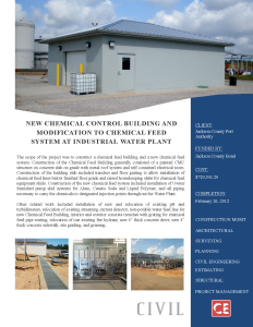 New Chemical Control Building and Modification to Chemical Feed System at Industrial Water Plant