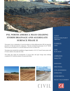 PSL North America Mass Grading, Storm Drainage and Aggregate Surface Phase II