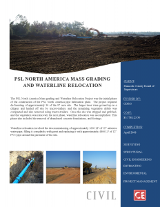 PSL North America Mass Grading and Waterline Relocation Phase I