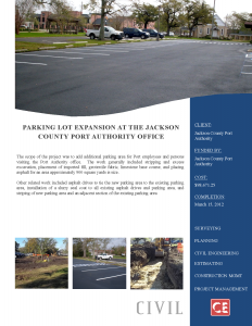 Parking Lot Expansion at the Jackson County Port Authority Office